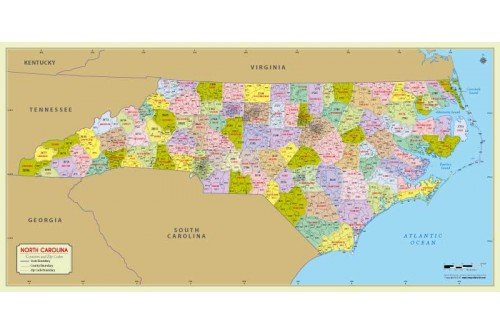 North Carolina Zip Code Map With Counties