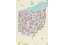 Ohio Zip Code Map - Digital File