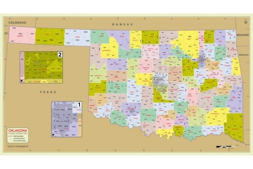 Oklahoma Zip Code Map With Counties