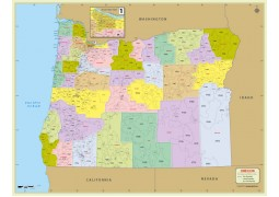 Oregon Zip Code Map With Counties - Digital File