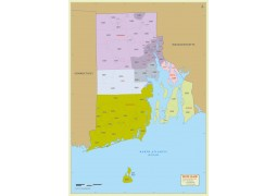 Rhode Island Zip Code Map With Counties - Digital File
