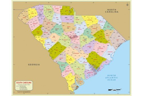 South Carolina Zip Code Map With Counties