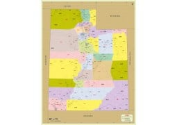 Utah Zip Code Map With Counties - Digital File