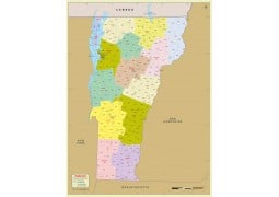 Vermont Zip Code Map With Counties - Digital File