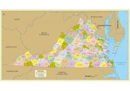 Virginia Zip Code Map With Counties - Digital File