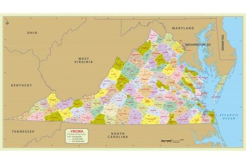 Virginia Zip Code Map With Counties