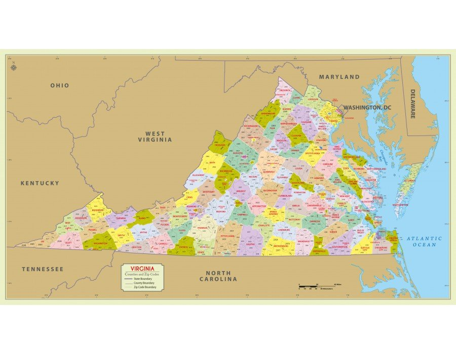Virginia Zip Code Map Buy Virginia Zip Code Map With Counties online