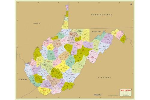 West Virginia Zip Code Map With Counties