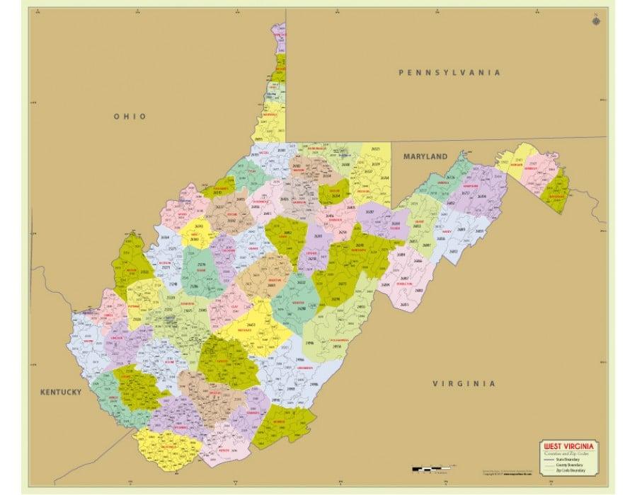 Buy West Virginia Zip Code Map With Counties Online