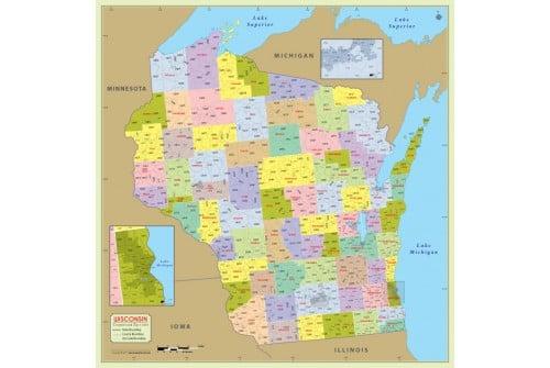 Wisconsin Zip Code Map With Counties