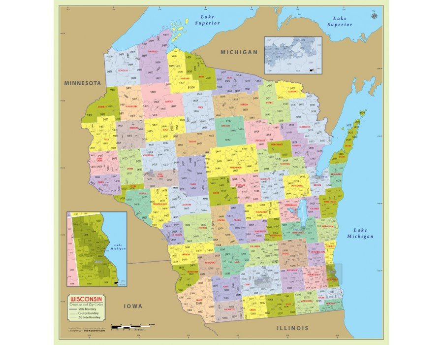 Buy Wisconsin Zip Code Map With Counties Online