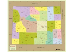 Wyoming Zip Code Map With Counties - Digital File