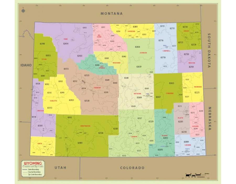 Wyoming Zip Code Map Buy Wyoming Zip Code Map With Counties online