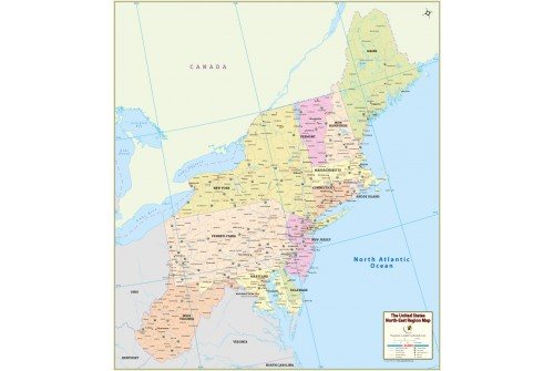 Northeast Region Map, US