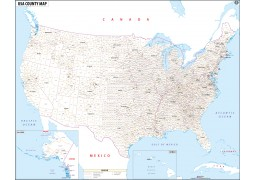 USA with County Names Map