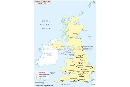 UK Map with Major Cities