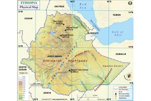Ethiopia Physical Map