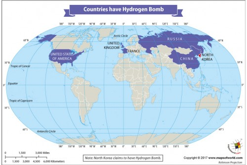 Map of Countries Have Hydrogen Bomb