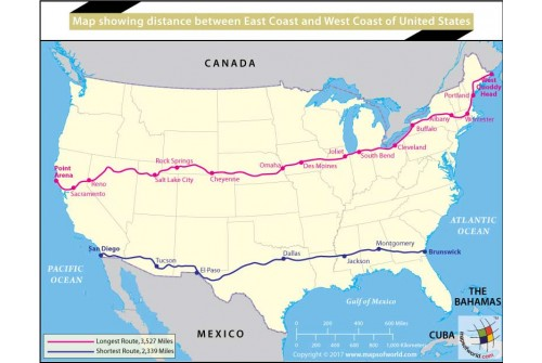Map Showing Distance Between East Coast And West Coast of United States