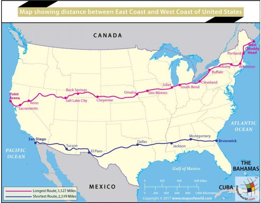 Buy Map Showing Distance Between East Coast And West Coast of ...