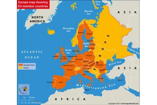 Europe Map Showing EU Member Countries
