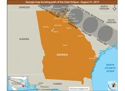 Georgia Map locating Path of the solar Eclipse August-21-2017