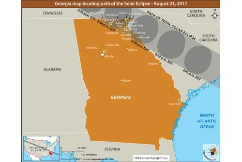 Buy Georgia Map Locating Path Of The Solar Eclipse August - Georgia map solar eclipse
