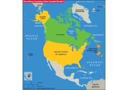 How Many Countries Does Canada Border Map - Digital File