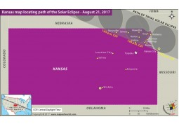 Kansas Map Locating Path of the Solar Eclipse August 21 2017 - Digital File
