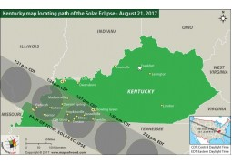 Kentucky Map Locating Path of The Solar Eclipse August 21, 2017