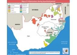 Map of 10 Bantustans During Apartheid Period