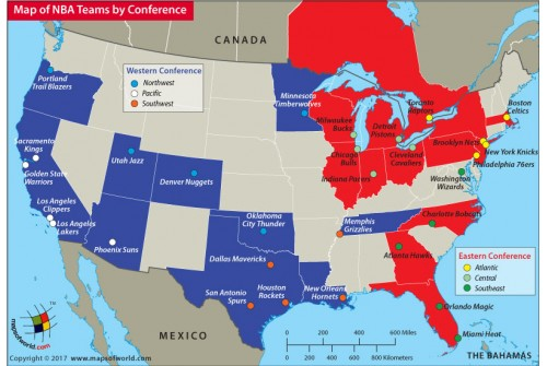 Map of NBA Teams By Conference