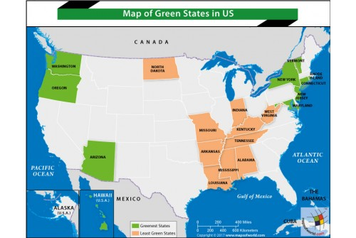 Map of Green States in US