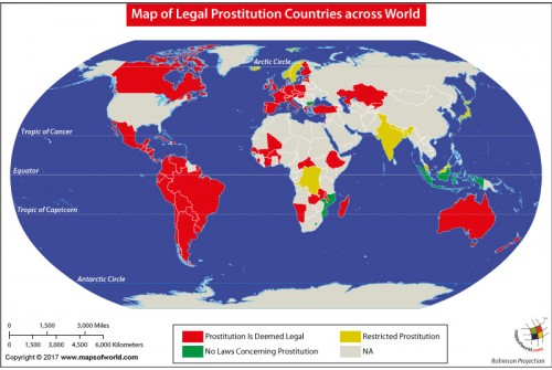 Map of Legal Prostitution Countries Across World