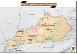 Map of Popular Places in Kentucky - Digital File