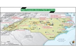 Map of Popular Places in North Carolina - Digital File