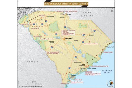 Map of Popular Places in South Carolina