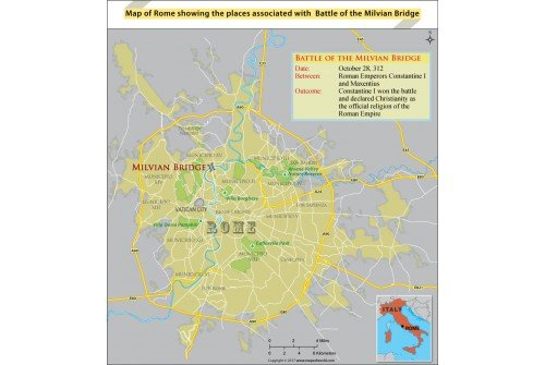 Map of Rome Showing The Places Associated With Battle of The Milvian Bridge