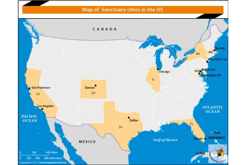 Map of Sanctuary Cities in The US