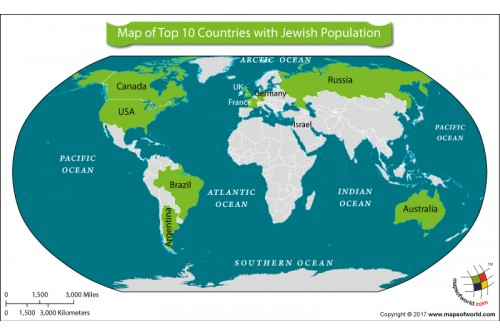 Map of Top Ten Countries with Jewish Population