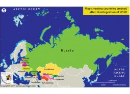 Map Showing Countries Created after Disintegration of USSR