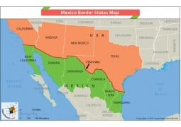 Mexico Border States Map - Digital File