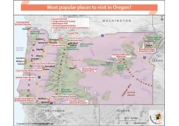 Map of Popular Places in Oregon - Digital File