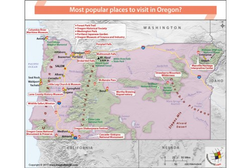 Map of Popular Places in Oregon