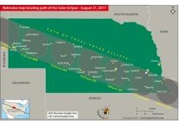 Nebraska Map Locating Path of the Solar Eclipse   August 21, 2017 - Digital File