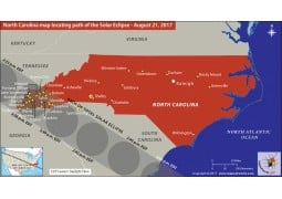 North Carolina Map Locating Path of The Solar Eclipse August 21 2017 - Digital File