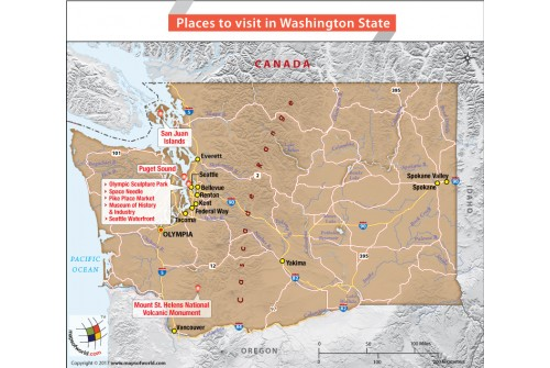 Places to Visit in Washington State Map