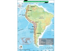 South America Map Showing Andes Mountain Range - Digital File