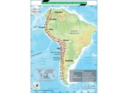 South America Map Showing Andes Mountain Range
