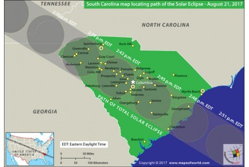 South Carolina Map Locating Path of The Solar Eclipse August 21 2017